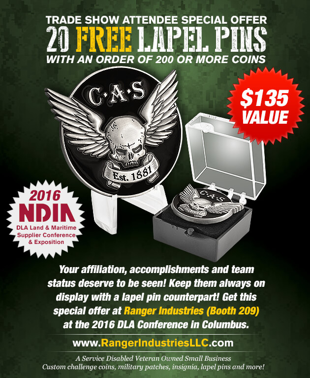 Meet Gene at Booth 209 and get 20 FREE LAPEL PINS of your custom design when you make an order of 200 or more coins.