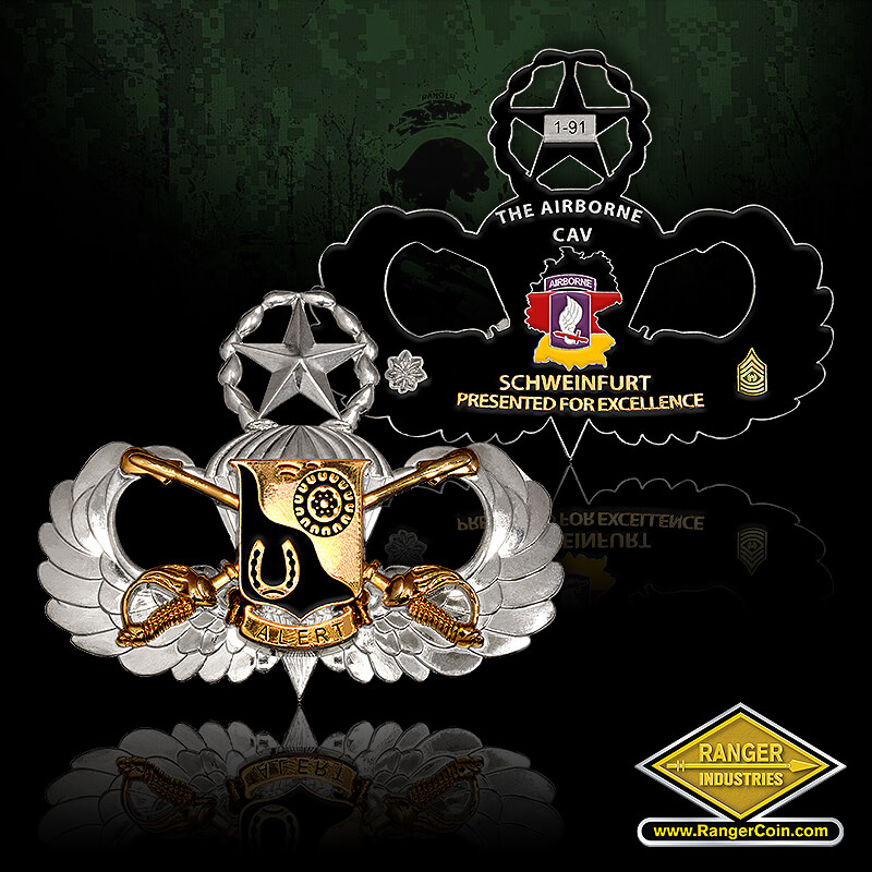 Airborne Cavalry - 1-91, the airborne cav, schweinfurt, presented for excellence, command sergeant major, horse show, crest, crossed swords, jump wings, star, parachute