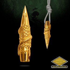 SC-0553-shiny Rattlesnake Bullet Pendant