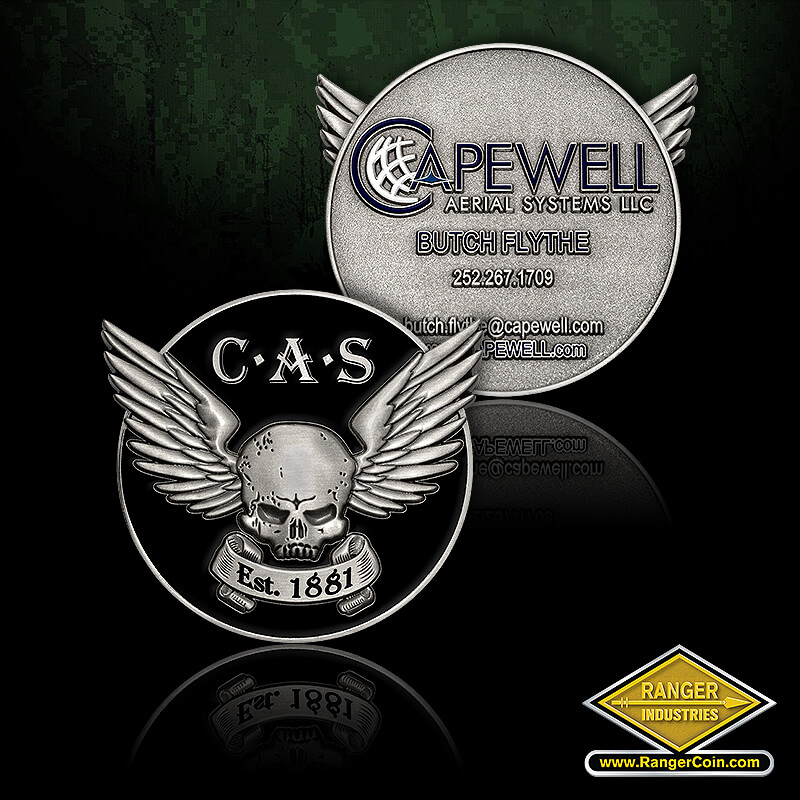 Capewell Aerial Systems - skull, wings, est. 1881