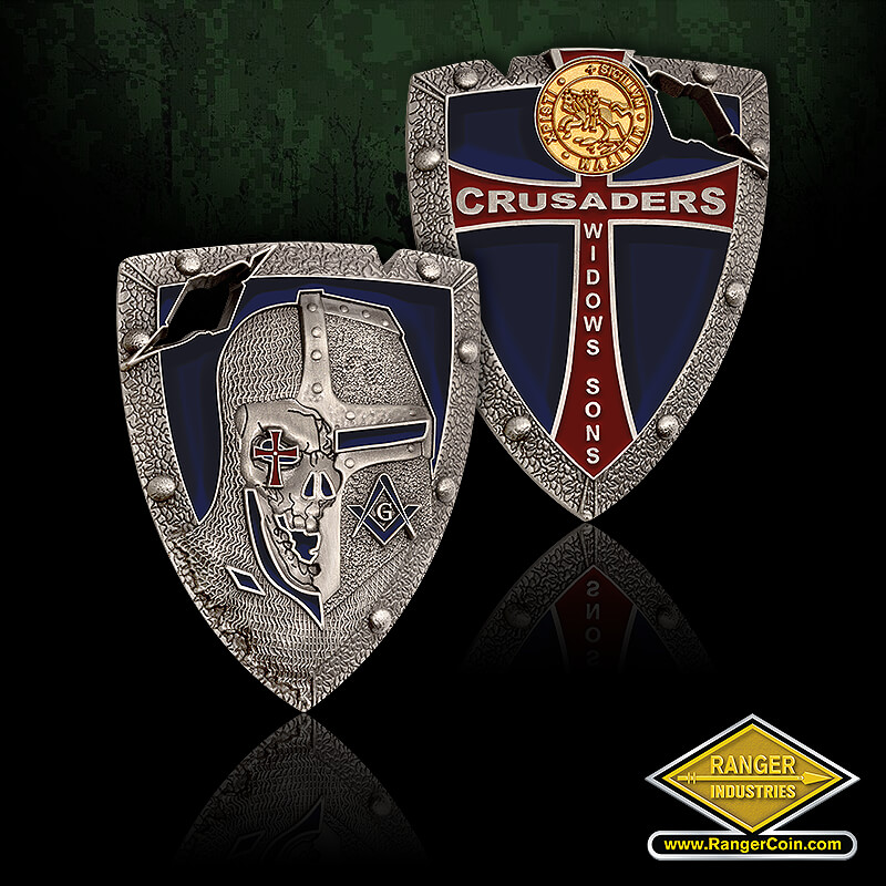 Crusaders Widows Sons Coin - knight, skull, cross, square and compass, G, crusaders, widows sons