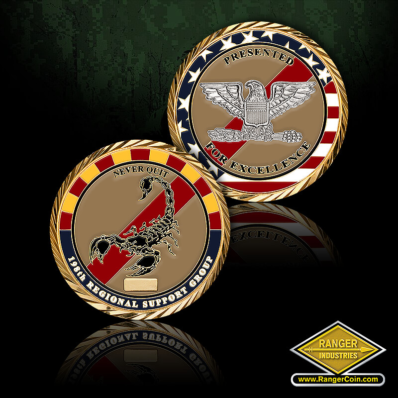 AZ ARNG 198th COL coin - never quit, 198th regional support group, scorpion, presented for excellence, colonel