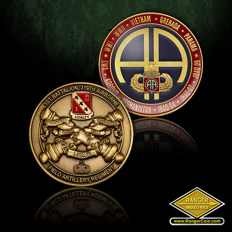 1-319 Airborne coin - 1st battalion, 319th airborne, field artillery regiment, loyalty, hard chargers, grave diggers, gators, bulls, WWI, WWII, Vietnam, Grenada, Panama, Kosovo, Afghanistan, Iraq 04, Iraq 07, Iraq 09, Airborne