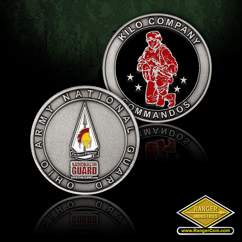 OH ARNG Kilo Company Coin - Army National Guard Ohio, Spartan helmet, paratus preliator, spear tip, kilo company commandos, four stars, kneeling soldier