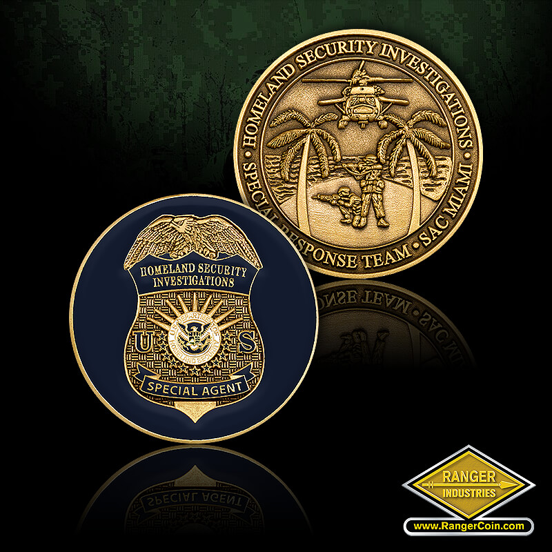 HSI Miami SRT hand-out coin - Homeland security investigations, special agent, US Department of Homeland Security, eagle, palm trees, helicopter, fire team