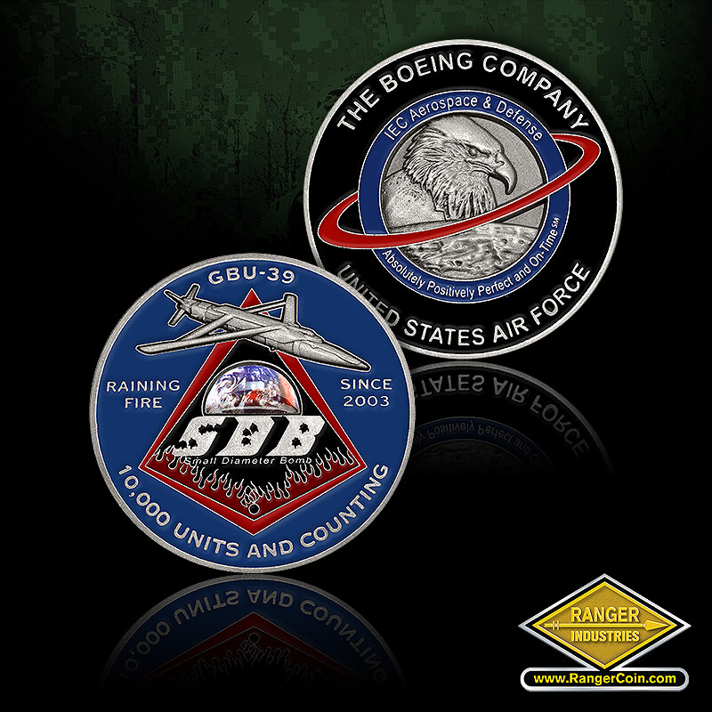 SCBC SDB coin - The Boeing Company, United States Air Force, IEC Aerospace & Defense, Absolutely positively perfect and on-time, SM, eagle, orbit, GBU-39, raining fire, since 2003, 10,000 united and counting, SDB, small diameter bomb