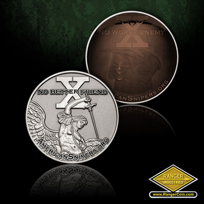 AS 911 Sniper coin (two-part) - No Worse Enemy, X, americansnipers.org, grim reaper, No Better Friend, X, americansnipers.org, Archangel, Michael, sword