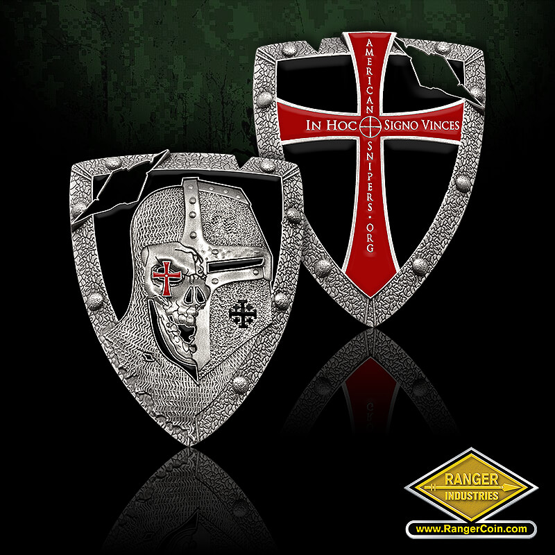 2014 AmericanSnipers Company Coin - knight, iron cross, crusader, chain mail, shield, in hoc signo vinces, americansnipers.org, cross