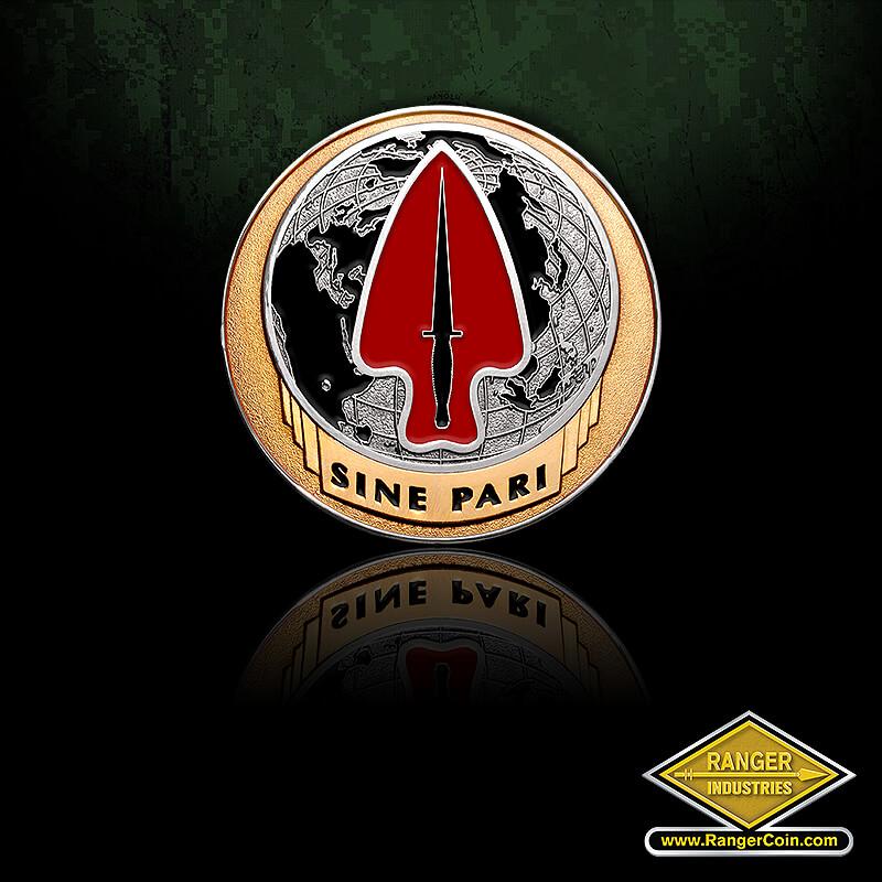 USASOC 2.0″ Die (with adhesive) - Sine Pari, globe, arrow, knife