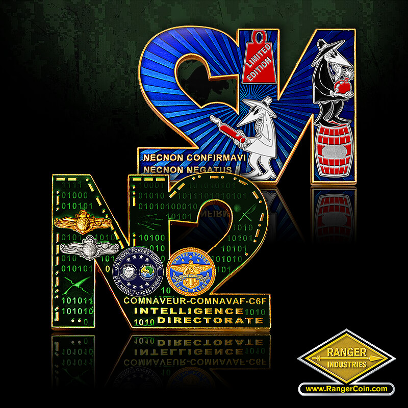 N2 Directorate Coin - N2, US Naval forces Europe, US Naval Forces Africa, United States Sixth Fleet, Comnaveur comnavaf c6f, intelligence directorate, Limited edition, dynamite, barrel, bomb, spy vs spy, necnon confirmavi, necnon negatus