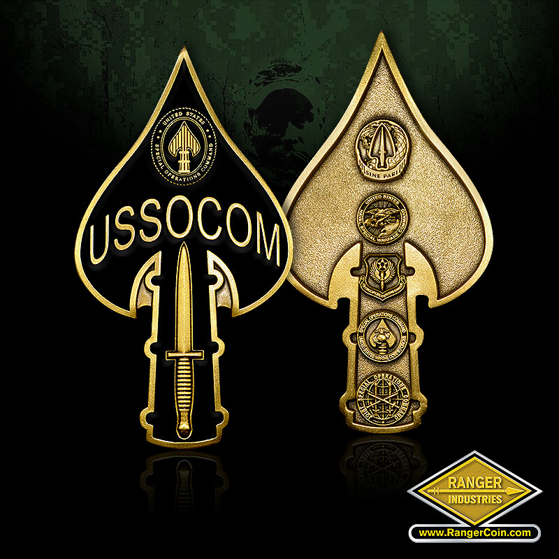 USSOCOM Tip of the Spear coin - USSOCOM knife, spear tip, special operations command, sine pari, united states naval special warfare command, air force special operations command, special operations command united states marine corps forces, JSOC, joint special operations command