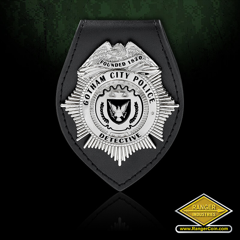 Gotham City Badge with Faux Leather Holder