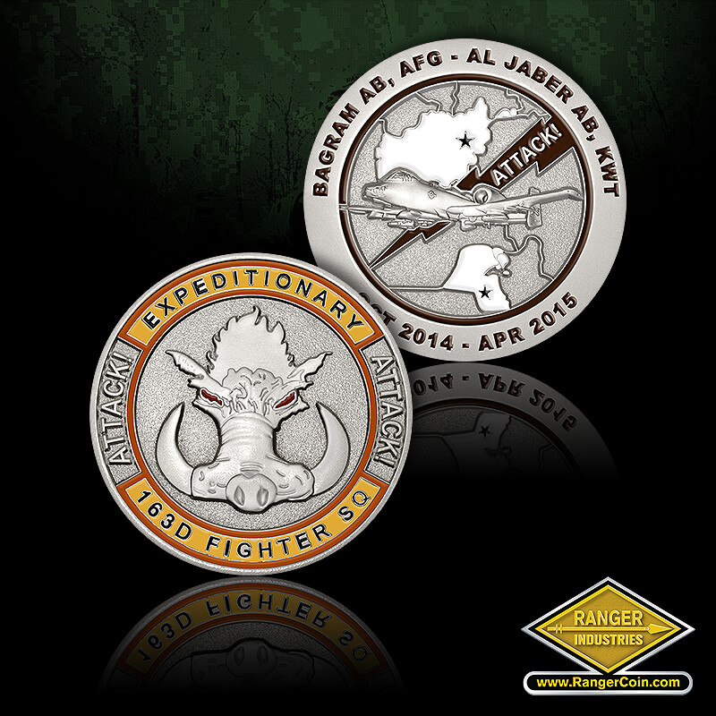 163D Fighter SQ A10 Coin - Expeditionary 163D Fighters SQ, Attack!, Attack!, warthog, Bagram AB, AFG, Al Jaber AB, KWT, Attack!, Oct 2014 Apr 2015, A10 Thunderbolt warthog