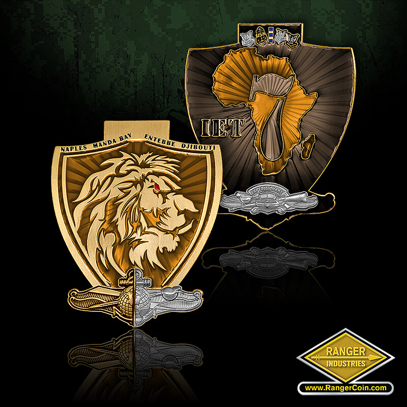 IET7 Coin - Lion, Naples Manda Bay Entebbe Djibouti, shield, IET 7, Africa, expeditionary, USN