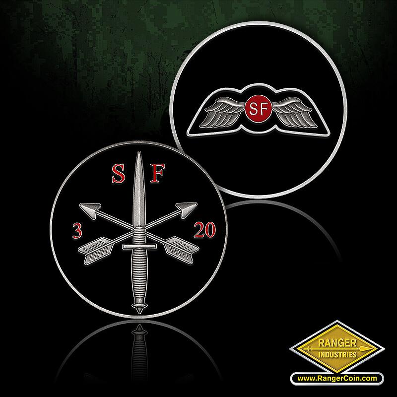 3/20 SFG (A) - SF, wings, 3 SF 20, crossed arrows, combat knife