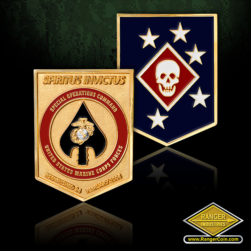 V4U Marsoc - skull, diamond, 5 stars, spiritus invictus, established 24 February 2006, special operations command, United Stats Marine Corps, spear tip, marine corps ega