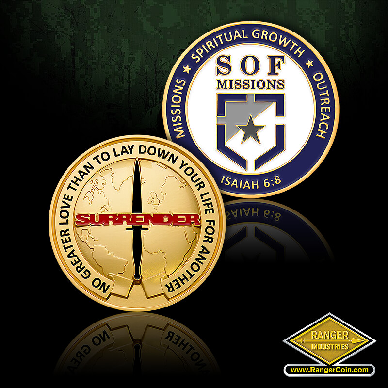 SOF Missions coin - No greater love than to lay down your life for another, Surrender, combat knife, globe, Missions, spiritual growth, outreach, SOF Missions, Isaiah 6:8, shield, star
