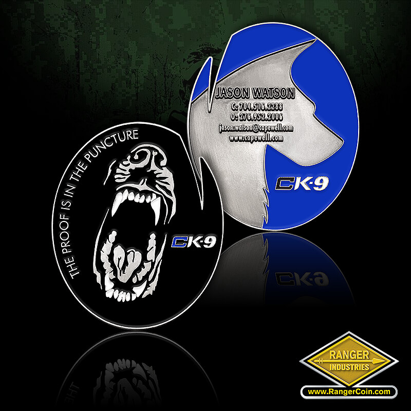 Capewell CK-9 coin - The proof is in the puncture, ck9, teeth, muzzle, bite, dog, Jason Watson, CK-9, dog, silhouette