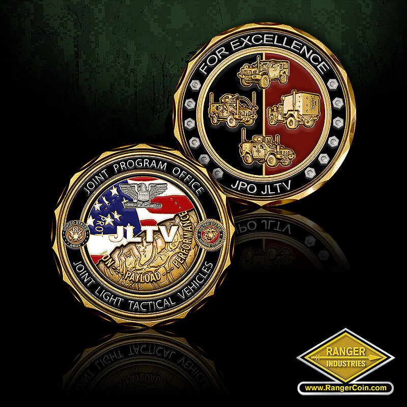 JPO JLTV for Excellence coin - For excellence JPO JLTV, trucks, armored, Joint program office, joint light tactical vehicles, protection payload performance, colonel, American flag, JLTV, department of the army, United states of America, department of the navy, United States Marine Corps