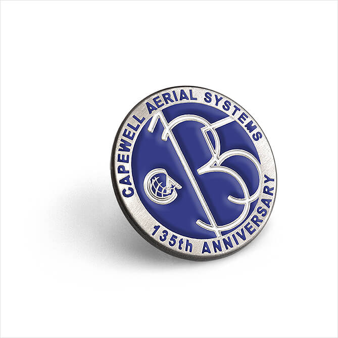 Capewell Aerial 135th Anniversary lapel pin - capewell aerial systems, 135, 135th anniversary
