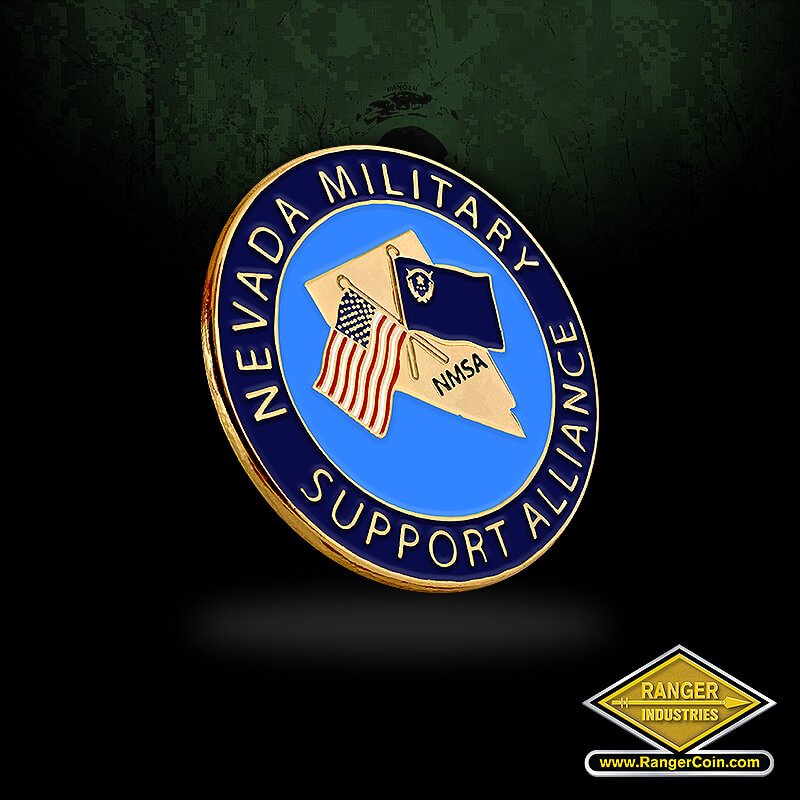 NMSA lapel pin - Nevada Military Support Alliance, NMSA, Nevada, American Flag, Nevada Flag, crossed flags