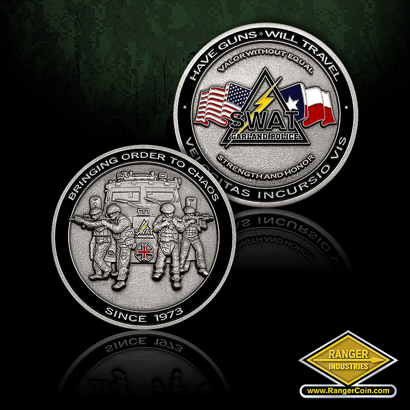Garland SWAT challenge coin - Bringing order to chaos, since 1973, swat team, Have guns will travel, valor without equal, SWAT Garland police, strength and honor, velocitas incursio vis, American flag, Texas flag, lightning bolt, triangle