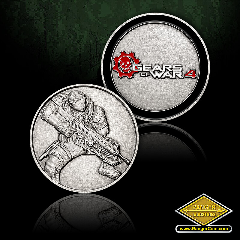 Gears of War 4 Challenge Coin - Gears of war, Corporal Dominic Santiago, Army, air force, navy, marines, coast guard, gears of war 4, gear, skull, thank you for your service