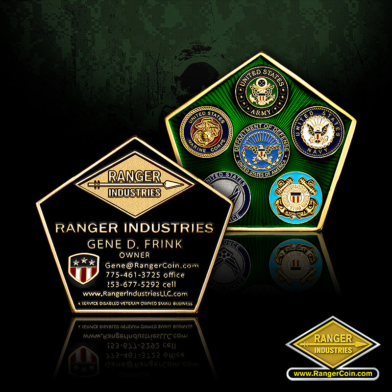 Gene Frink business card coin - Ranger industries, Gene D. Frink, ranger dui, a service disabled veteran owned small business, Department of defense, military branch seals, branches, army, navy, air force, marine corps, coast guard