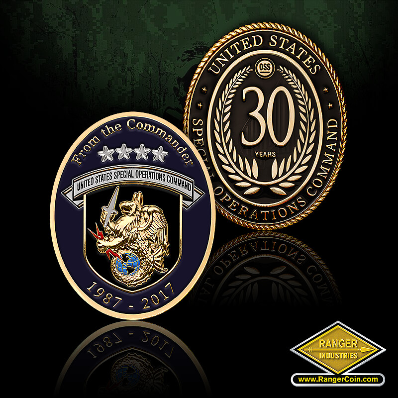 USSOCOM HQ Commander - United States Special Operations Command, 30 years, wreath, OSS, From the Commander, 1987 2017, United States Special Operations Command, Griffin