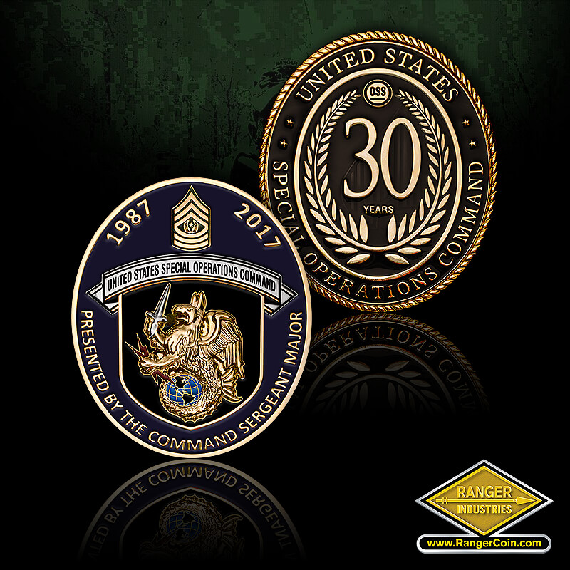 USSOCOM CSM - Presented by the Command Sergeant Major, 1987 2017, United States Special Operations Command, griffin, globe, United States, 30 Years, OSS, Wreath, Special Operations Command, SOCOM, spear tip