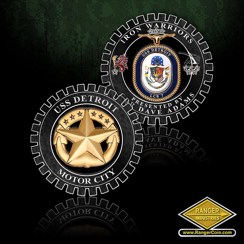 CDR ADAMS - Iron Warriors, Presented By CDR Dave Adams, USS Detroit, LCS 7, longhorn, dragon, USS Detroit, anchor star, Motor City