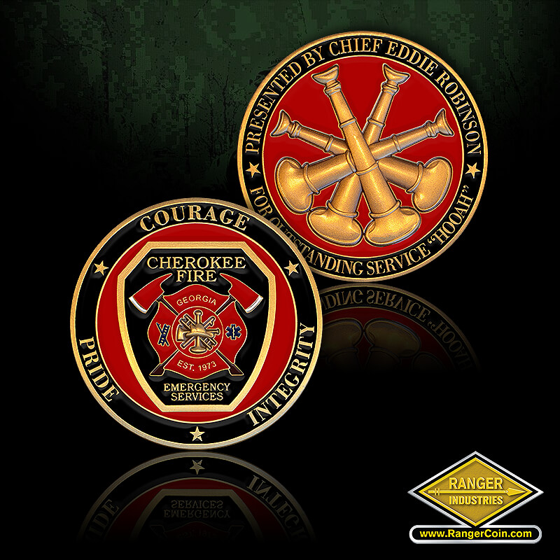 Cherokee Fire Chief Robinson - Courage, Pride, Integrity, Cherokee Fire, Emergency Services, Georgia, Est. 1973, Maltese Cross, Crossed axes, stars, ladder, caduceus, Presented by Fire Chief Eddie Robinson, For Service Excellence, crossed bugles