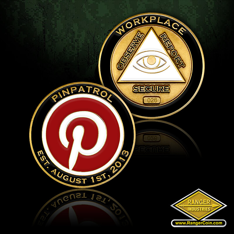 Pinterest PinPatrol - PinPatrol, EST. August 1st, 2013, Workplace, Observe, Report, Secure, All Seeing Eye, Pintrest Logo