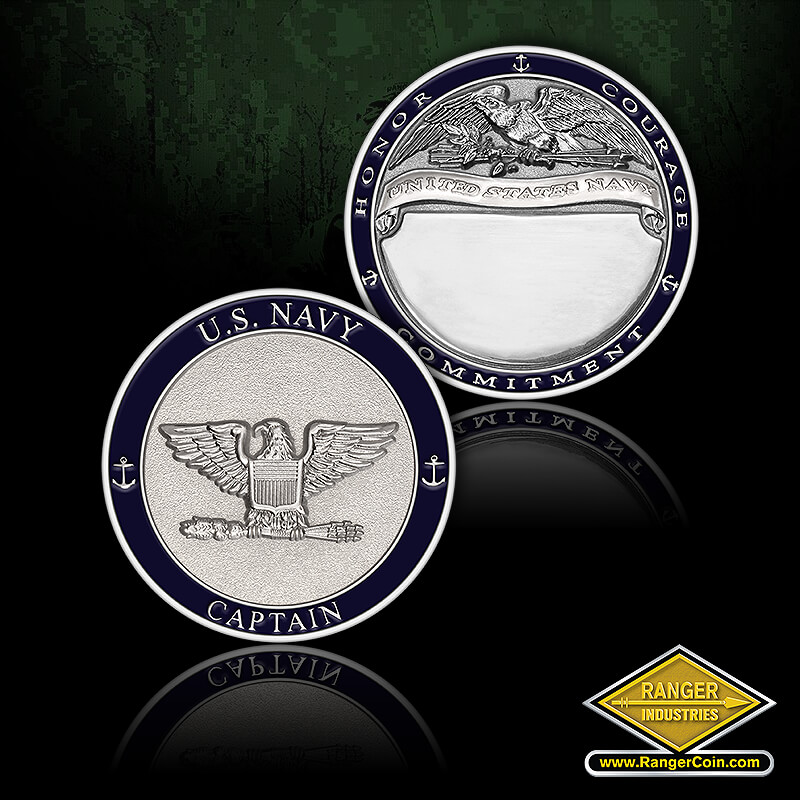 NAVY CAPTAIN COIN - U.S. Navy, Captain, anchors, Honor, Courage, Commitment, United States Navy, engravable