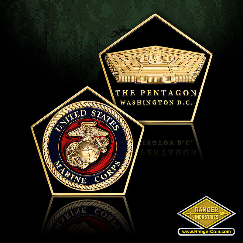 MARINE PENTAGON SHAPED COIN - United States Marine Corps, EGA, The Pentagon, Washington D.C.
