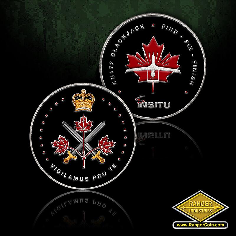 Insitu Canadian Coin - CU172 Blackjack, Find, Fix, Finish, Insitu, Maple Leaf, drone, Crown, Vigilamus Pro Te, Maple Leafs, crossed swords