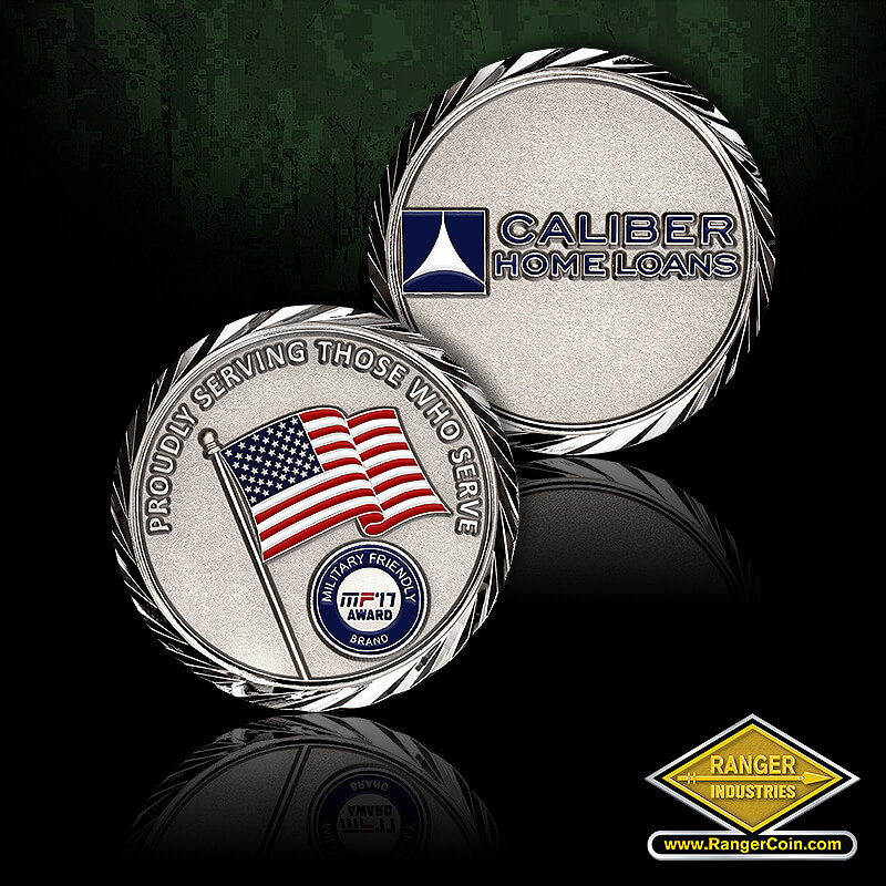 Caliber Home Loans Patriot Brand coin - Caliber Home Loans, Proudly Serving Those Who Serve, American flag, Military Friendly Brand, MF 17 Award