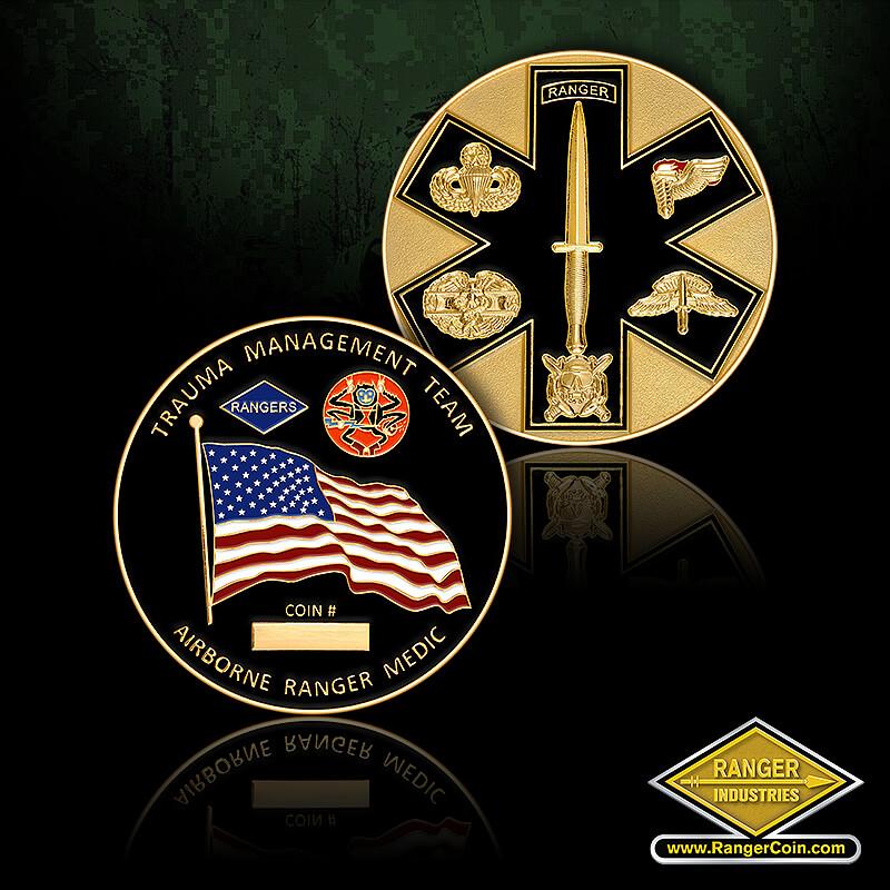 ARTB Medic coin - Trauma Management Team, Airborne Ranger Medic, Coin #, Rangers, American flag, Ranger, jump wings, dagger, knife, bayonet, medical, medic