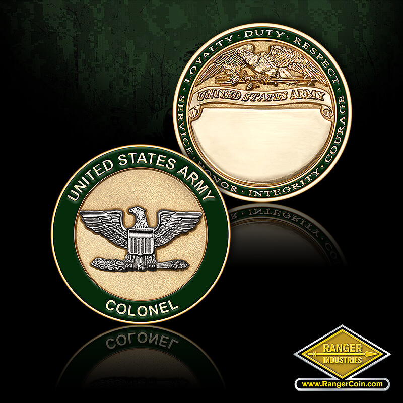 US Army Colonel Engravable Coin - United States Army, Colonel, Service, Honor, Integrity, Courage, Loyalty, Duty, Respect, United States Army, engravable