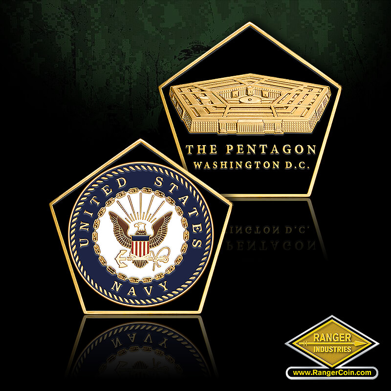 NAVY PENTAGON SHAPED COIN - United States Navy seal, The Pentagon, Washington D.C.