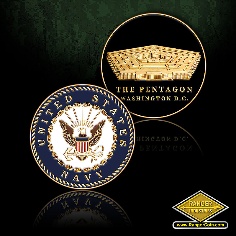 NAVY ROUND PENTAGON COIN - United States Navy seal, The Pentagon, Washington D.C.