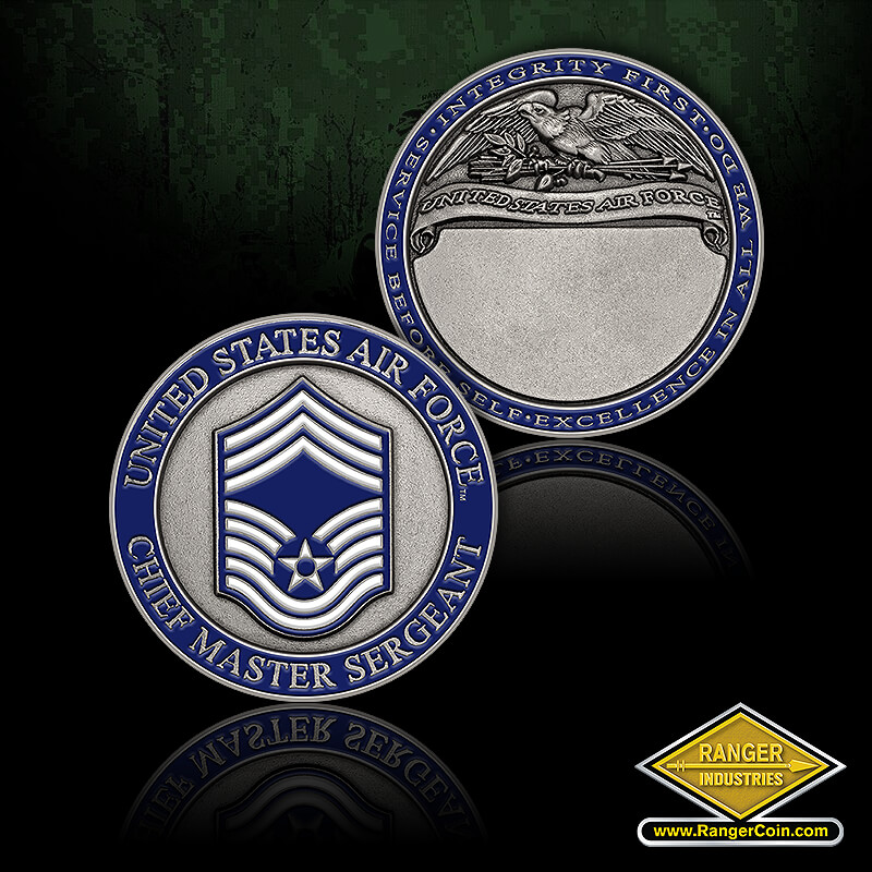 USAF Chief Master Sergeant - United States Air Force, Chief Master Sergeant, Integrity first, Service before self, Excellence in all we do, United States Air Force, engravable