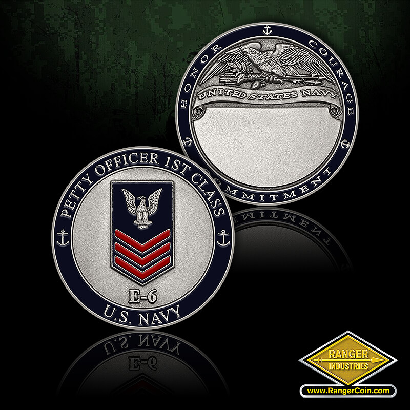 NAVY Petty Officer 1st Class - NAVY Petty Officer 1st Class, U.S. Navy, E-6, Honor, Courage, Commitment, eagle, engravable, anchors