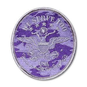 SC-5287 Brat ID- Oval Silver on Purple Camo Twill