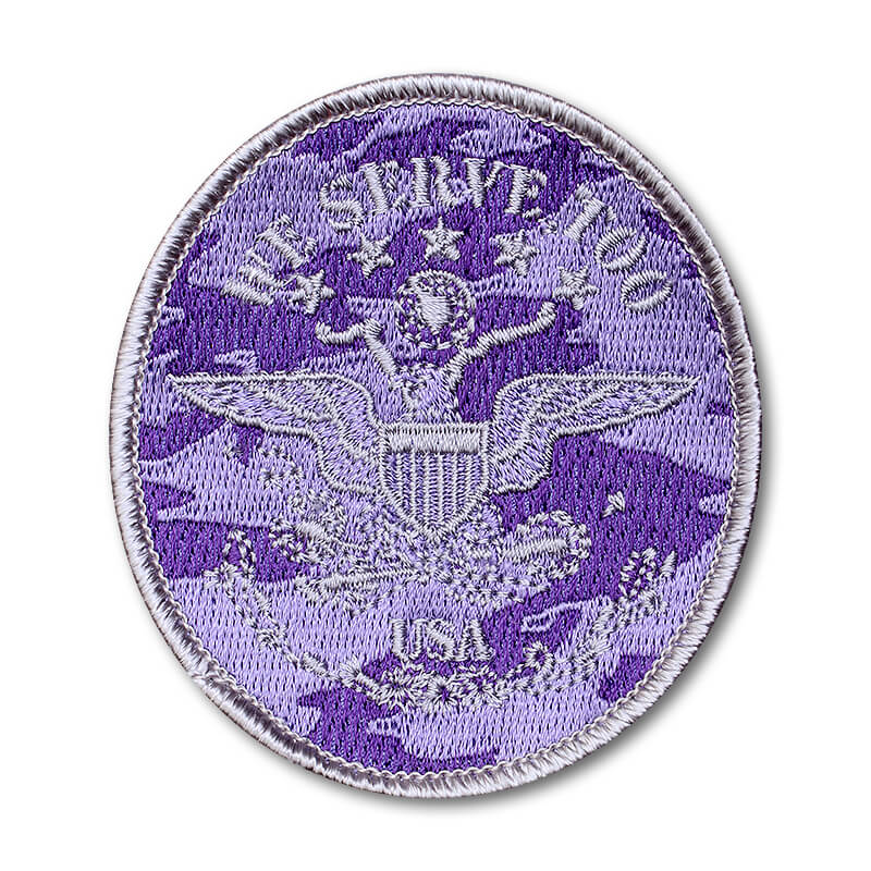 Brat ID- Oval Silver on Purple Camo Twill - We Serve Too, USA