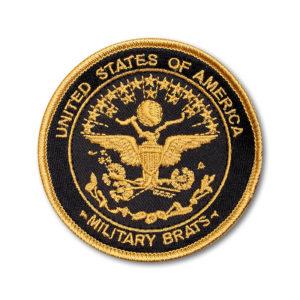 SC-5334 Brat ID- Round Gold & Black on Bronze Twill