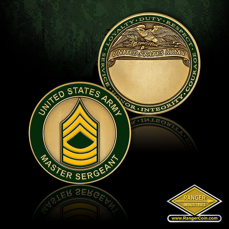 US Army Master Sergeant Engravable - United States Army, Master Sergeant, Loyalty, Duty, Respect, Service, Honor, Integrity, Courage