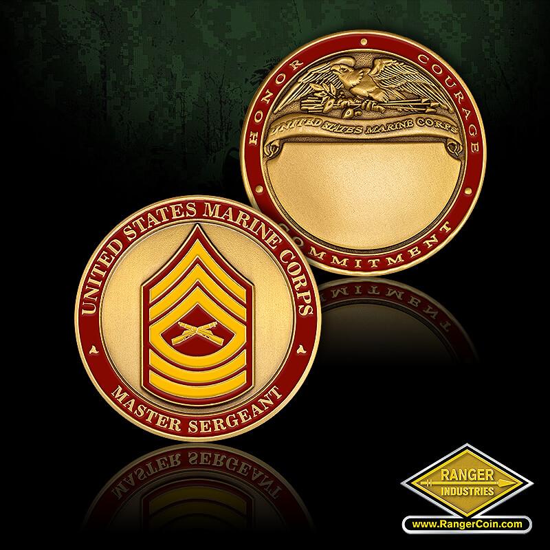 USMC Master Sergeant Engravable - United States Marine corps, Master Sergeant, Honor, Courage, Commitment, United States Marine Corps, engravable