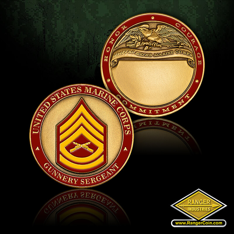 US Marines Gunnery Sgt Engravable - United States Marine Corps, Gunnery Sergeant, Honor, Courage, Commitment, United States Marine corps, engravable