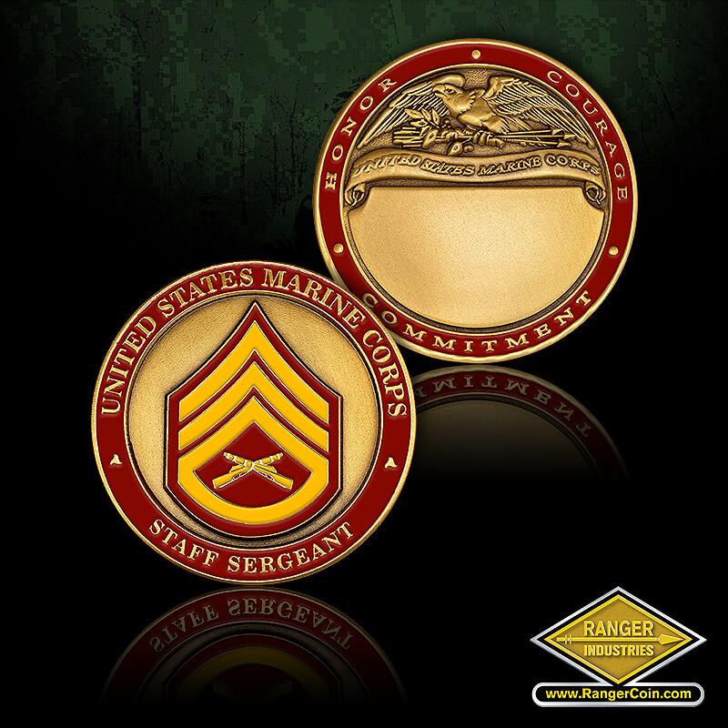 US Marines Staff Sergeant Engravable - United States Marine Corps, Staff Sergeant, Honor, Courage, Commitment, United States Marine Corps, engravable
